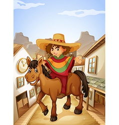 A young man with his horse strolling at the vector image