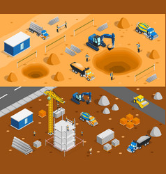 Building site banners set vector