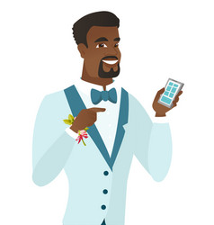 African-american groom holding a mobile phone vector