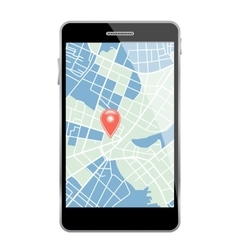 Smartphone with map vector