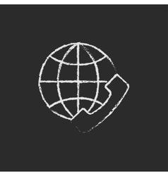 Global internet shopping icon drawn in chalk vector