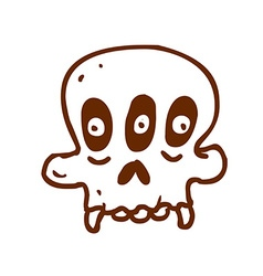 Hand drawn three eyed skull vector