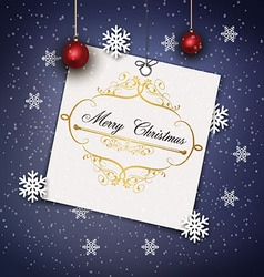 Greeting card with a background made of snowflakes vector