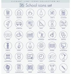 School or university outline icon set vector
