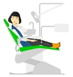 Woman suffering in dental chair vector