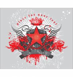 Heraldic composition with red star vector