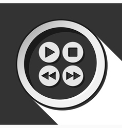 Icon - music control buttons with shadow vector