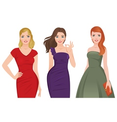 Group of young beautiful women vector