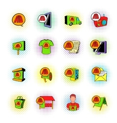 Advertisement set icons comics style vector image