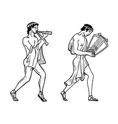 Ancient greek musicians vector