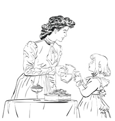 Aristocrat mother pouring her daughter a juice vector