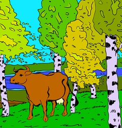 autumn sunny landscape with forest river and cow - vector image