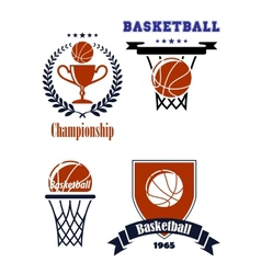 Basketball sporting symbols or logos vector image