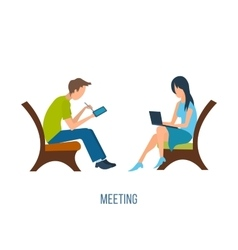 Boy and girl talking on the internet vector image vector image