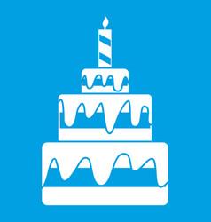 Cake icon white vector