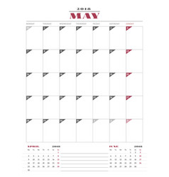 Calendar planner template for 2018 year may vector