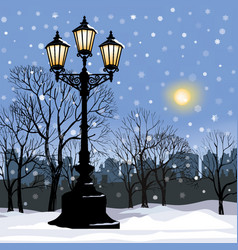 christmas winter cityscape snow city park skyline vector image
