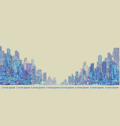 city panorama hand drawn cityscape drawing vector image vector image