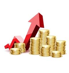 coins gold arrow vector image