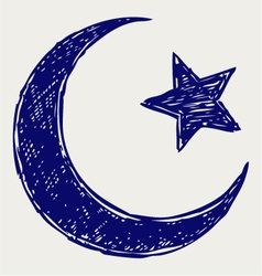 Crescent islamic symbol vector