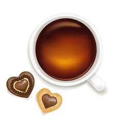 Cup Of Tea With Cookies vector image vector image