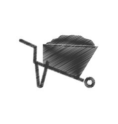 Drawing wheelbarrow mine equipment figure vector