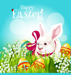 Easter rabbit and egg in green grass greeting card vector