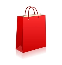 Empty red shopping bag on white for advertising vector image vector image