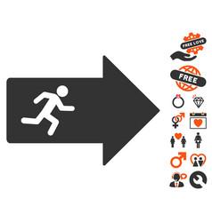 Exit arrow icon with love bonus vector