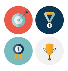 Flat circle career success icons set vector