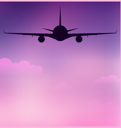 flying silhouette of an airplane on sky with vector image vector image