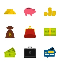 Funding icons set flat style vector