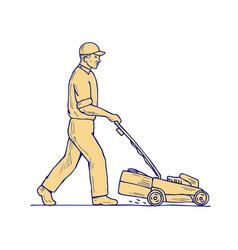 Gardener mowing lawnmower drawing vector