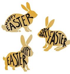 Golden easter rabbits vector image vector image