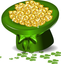 Green hat with money vector