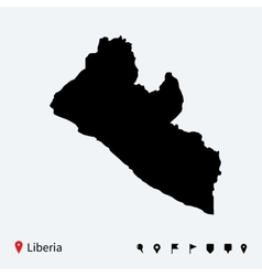 High detailed map of liberia with navigation pins vector