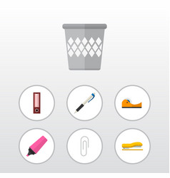icon flat tool set of highlighter adhesive tape vector image vector image