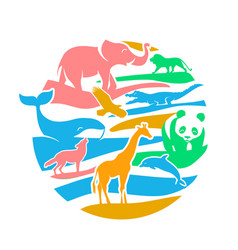 Icon in the form of animal silhouettes vector