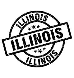 Illinois black round grunge stamp vector