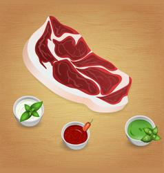 Lamb with tasty sauces and spices vector
