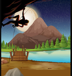 Man climbing rock on fullmoon night vector