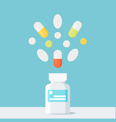 Medicine pills bottle with pills over it pharmacy vector