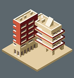 Modern isometric building made as corner - office vector