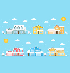 Neighborhood with homes and snowflakes vector