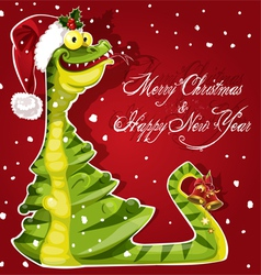 New Year Snake ate a Christmas tree banner on red vector image vector image