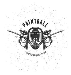 Paintball recreation club emblem vintage vector