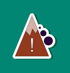 Paper sticker on stylish background mountain vector