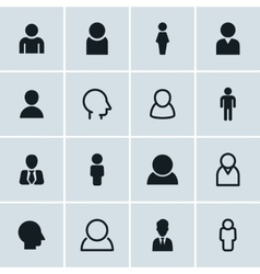 People icons set of 16 person symbols vector image vector image