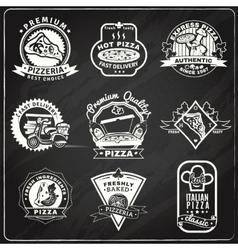 Pizza Chalkboard Emblems Set vector image vector image