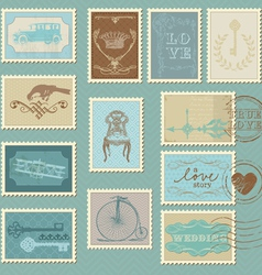 Retro postage stamps - for wedding invitation vector